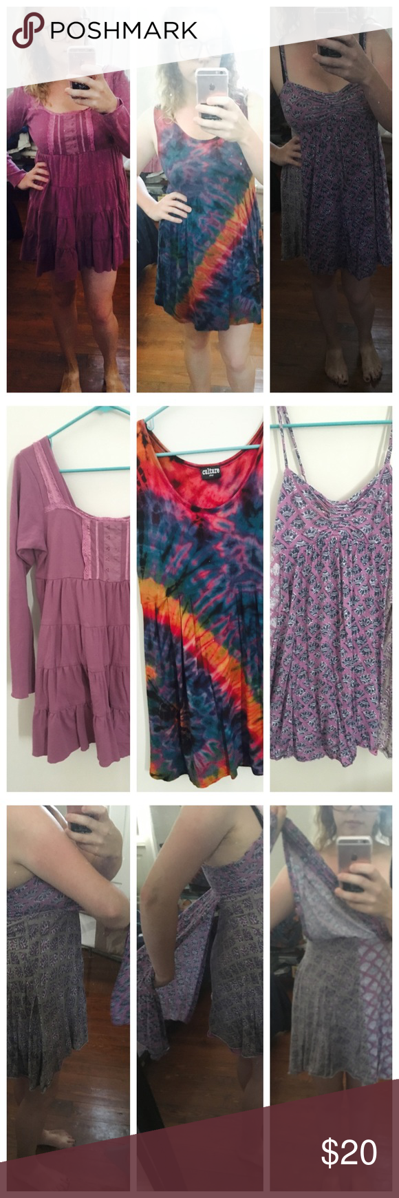 Bundle of 3 purple hippie dresses! One light and faded (intentional) baby doll dress, warm enough for fall with some leggings! One tie-Dye sleeveless dress and one purple spaghetti dress. Picture 3 shows the unique detail of the third dress. On the front and back a piece of fabric lays on top the dress sewn in at the bust. Third dress is American Eagle. The first two are from a local head shop in New Orleans, Hippie Gipsy located right outside the French Quarter downtown. American Eagle…