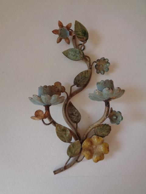 Vintage Toleware Iron Metal Flower Wall Sconce Candle ... on Candle Wall Sconces With Flowers id=55438