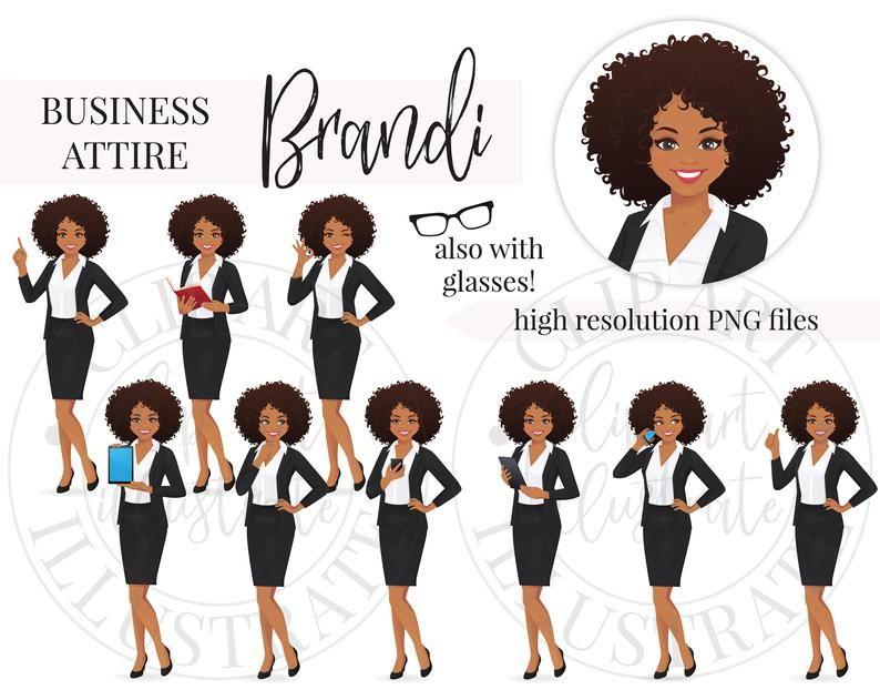 African Black Business Woman Clipart Png Brandi Etsy Business Women Black Business Business Attire Women