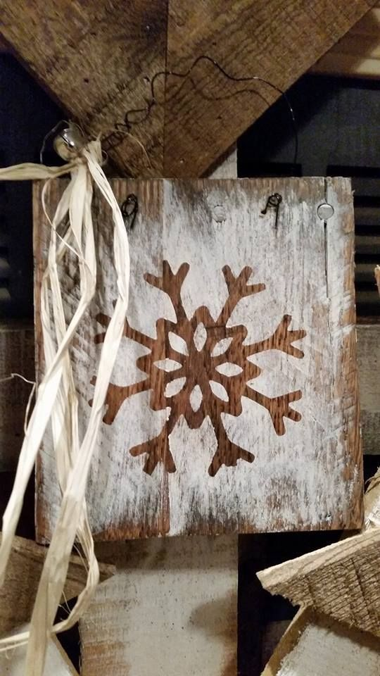 RECYCLED WOOD PALLETS Here are some Christmas ornaments for sale