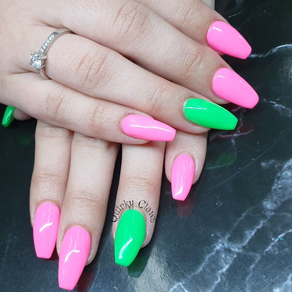 Pink And Green Neon Gel Polish On Acrylic Nails With Images