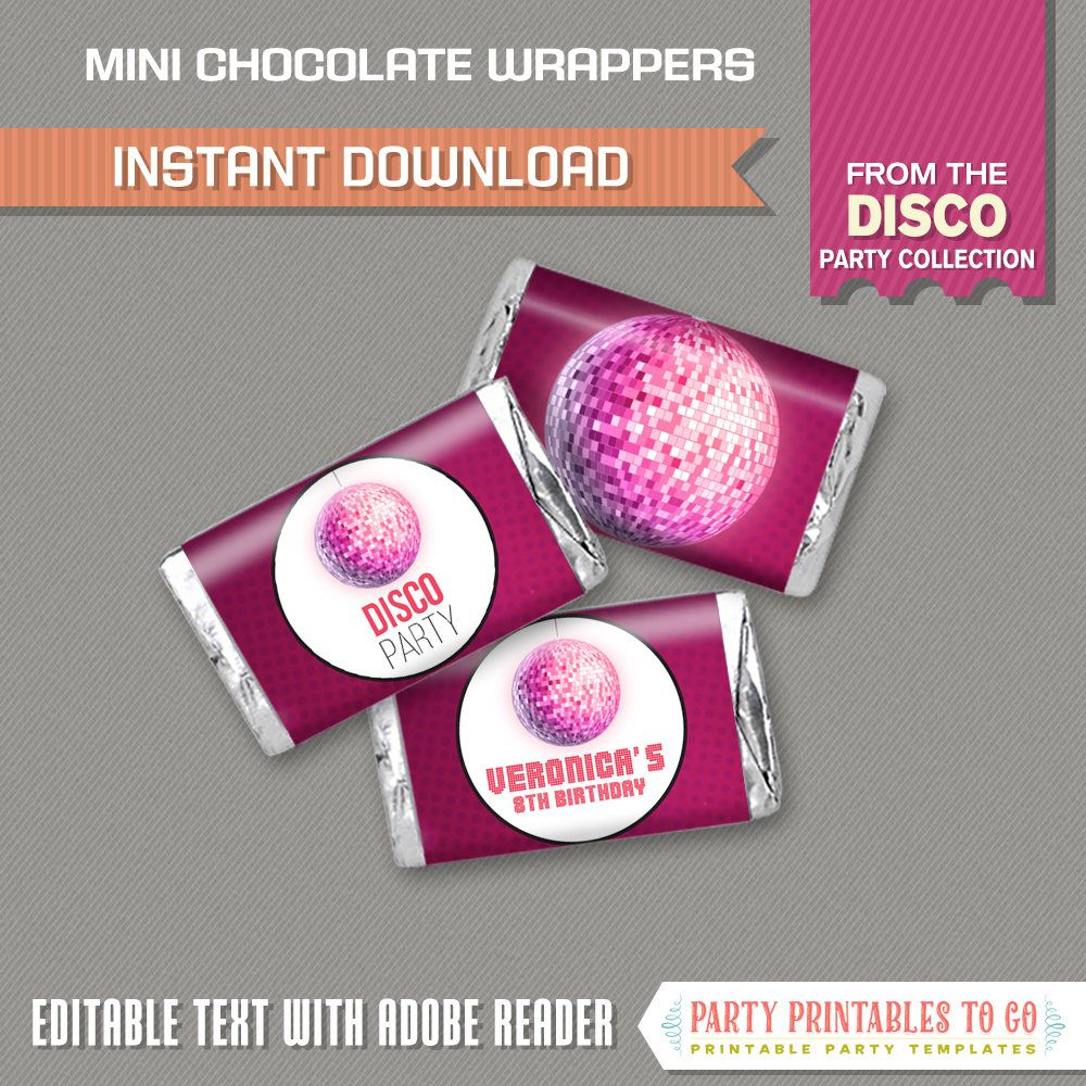 free printable camouflage birthday party invitations%0A Disco Party Mini Chocolate Wrappers  Paintball Birthday  INSTANT DOWNLOAD   Disco Birthday  Edit