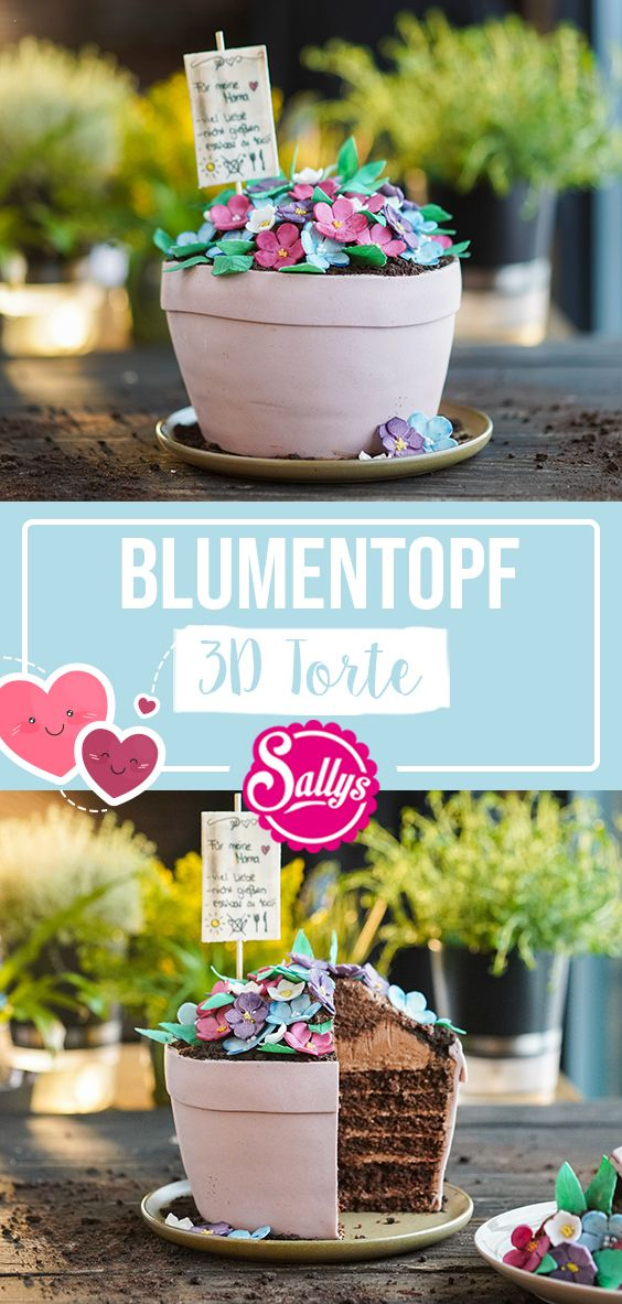 SALLYS BLUMENTOPF 3D TORTE ZUM MUTTERTAG – Motivtorten / Fondant Cakes