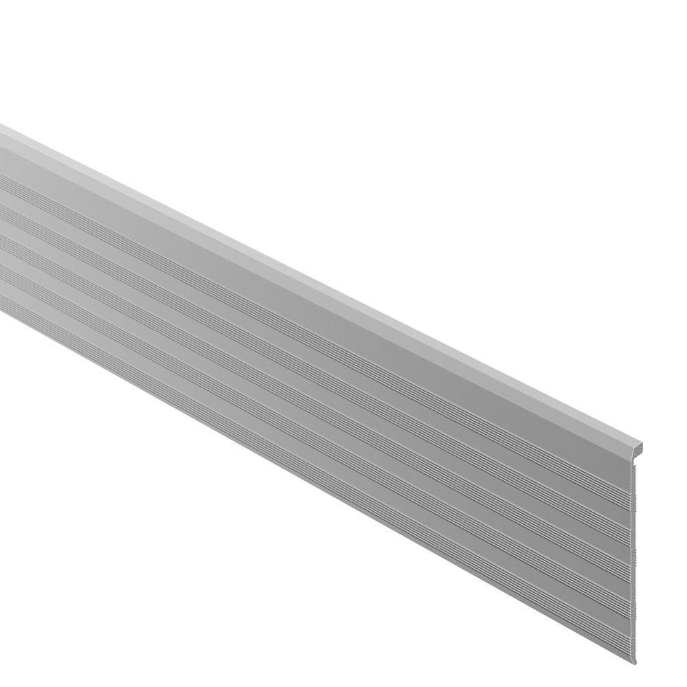 Schluter Trep Tap Satin Anodized Aluminum 2 13 32 In X 4 Ft 11 In Metal Stair Nose Cover Tile Edging Trim Satin Andonized Aluminum Stair Nosing Metal Stairs Tile Edge