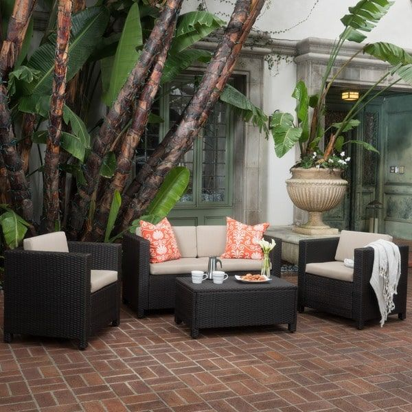 House · Puerta Outdoor Wicker Sofa Set By Christopher Knight Home