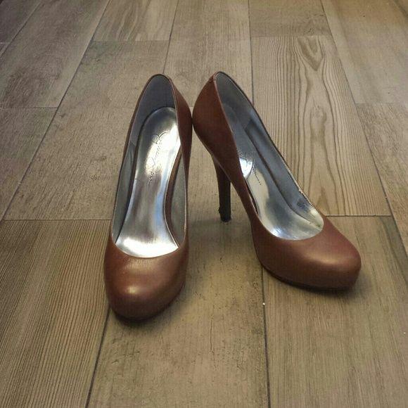 Jessica Simpson pumps Leather cognac color high heel pumps Jessica Simpson Shoes Heels