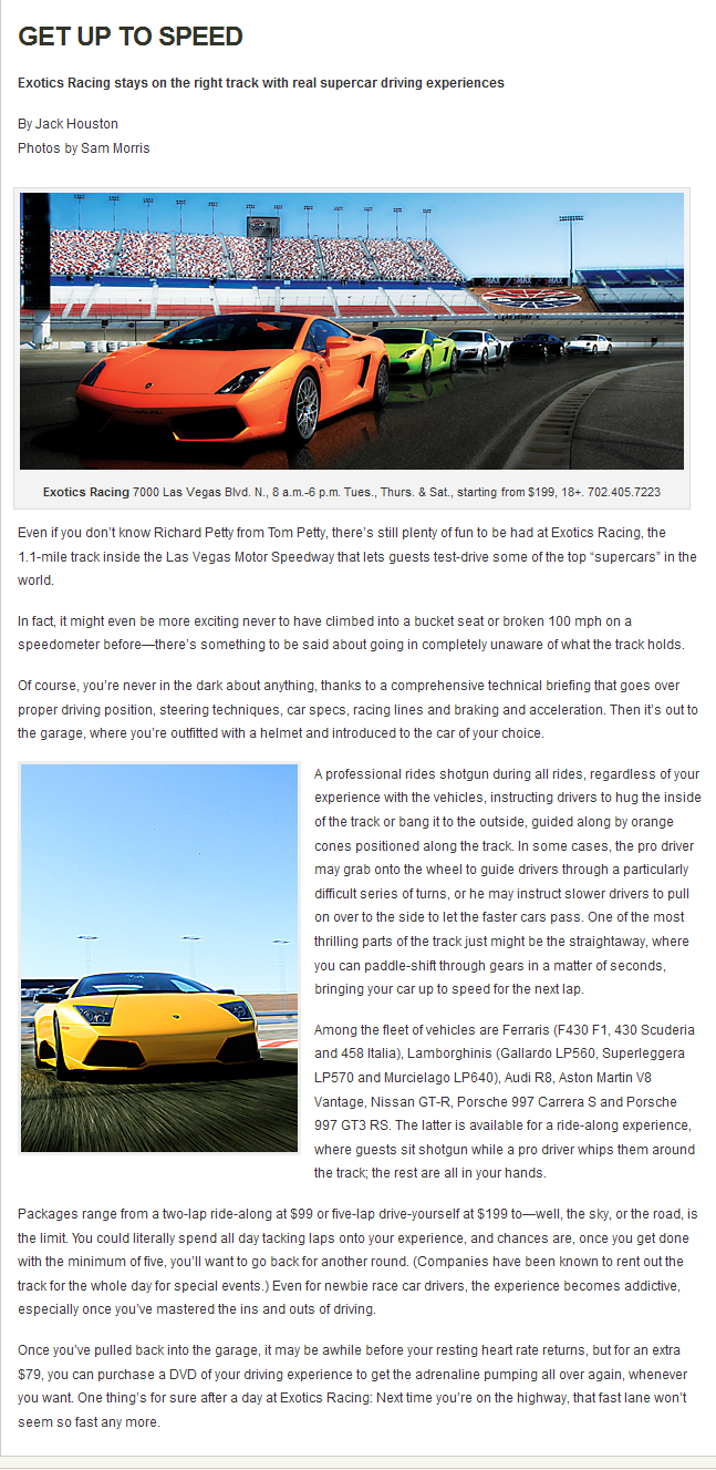 Exotics Racing In 07 21 2011 Issue Of Las Vegas Magazine Supercar Driving Experience Driving Experience Las Vegas