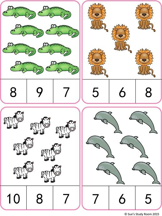 Animals Count And Clip Cards Numbers 1 20 Matematika Pinterest