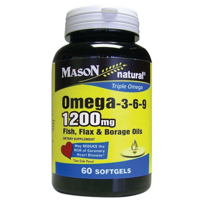 Mason Naturals Omega 3 6 9 Fish Flax Borage Oils 60 Softgels Borage Oil Omega Omega 3