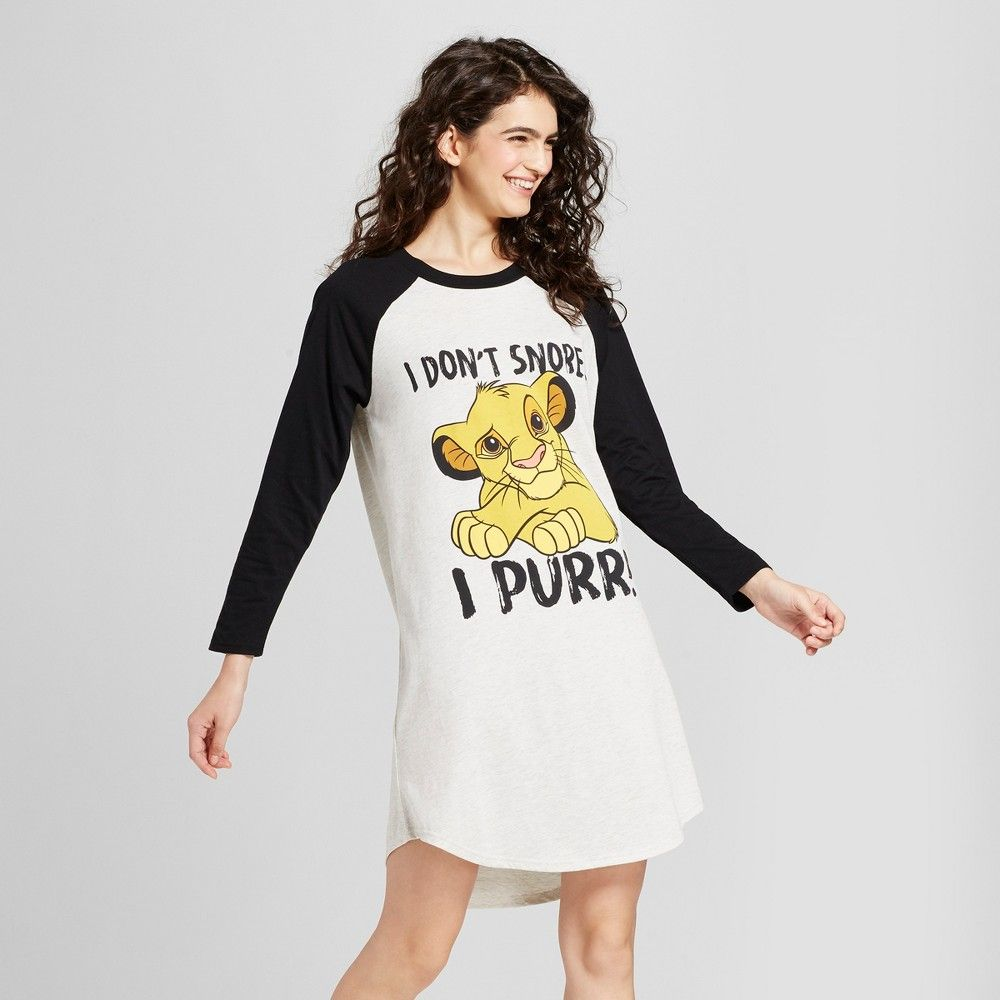 Women S Disney Lion King Simba I Don T Snore Long Sleeve Raglan Pajama Sleep Tee Heather Oatmeal Women Clothes Fashion [ 1000 x 1000 Pixel ]