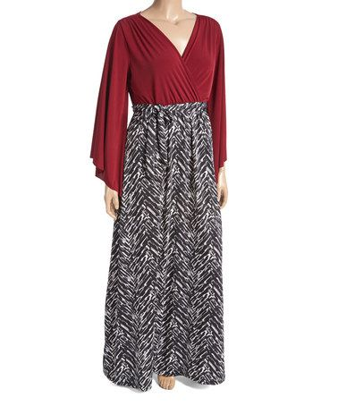This Burgundy & Black Geometric Surplice Maxi Dress - Plus is perfect! #zulilyfinds