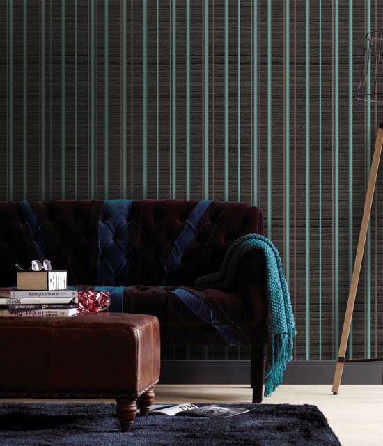 Empapelado - Rayado en colores oscuros - Papel de parede