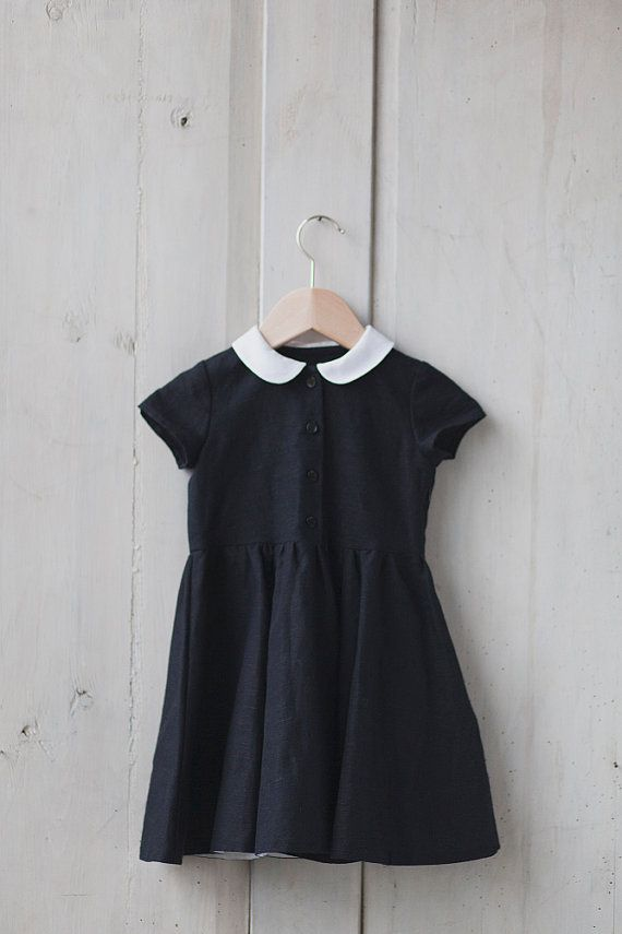 Little Black Linen Dress White Collar Kids Fashion Hand Made