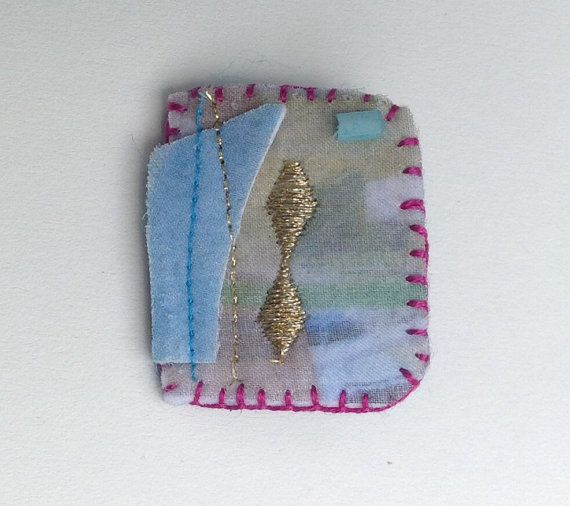 Blue and Gold Handmade Fiber Art Brooch by NewRelix on Etsy, $22.00