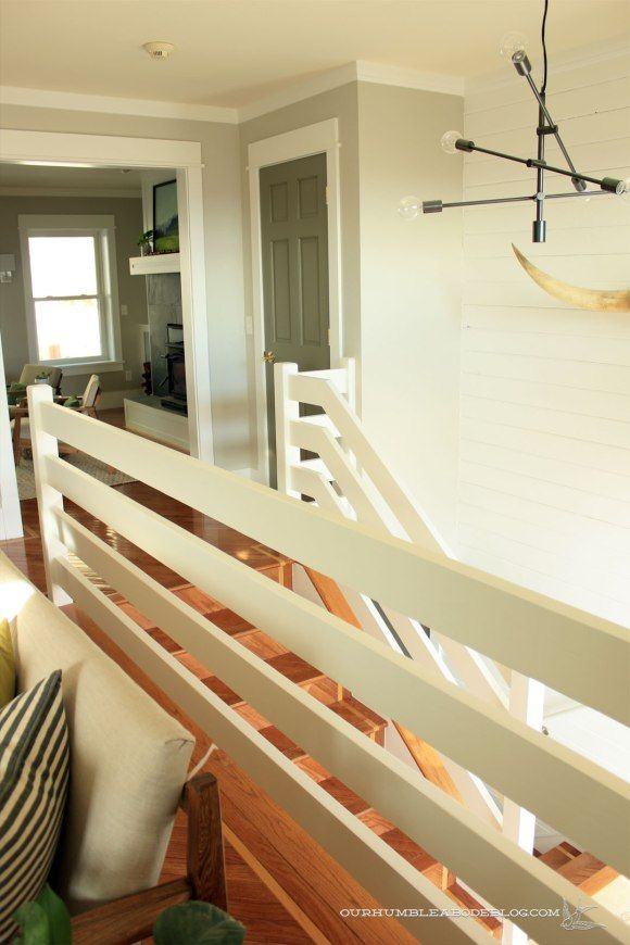 A Sleek Stair Railing Diy Stair Railing Staircase Design   Diy Farmhouse Stair Railing   Country Style   U Shaped   Horizontal Bar   Upcycled   Low Cost