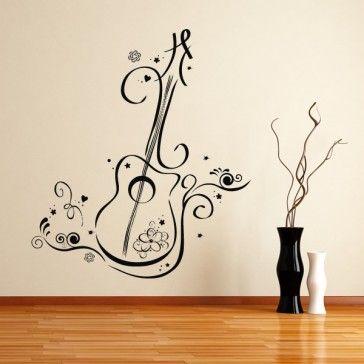 Floral Guitar Wall Sticker Nature Wall Art Guitar Wall Art Sticker Wall Art Music Wall Decal