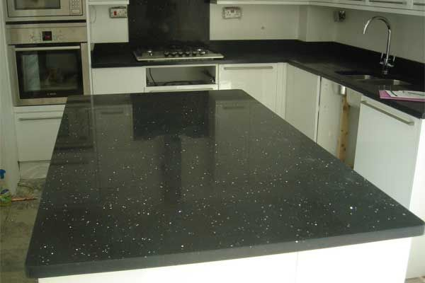 Black Glitter Kitchen Worktop 03