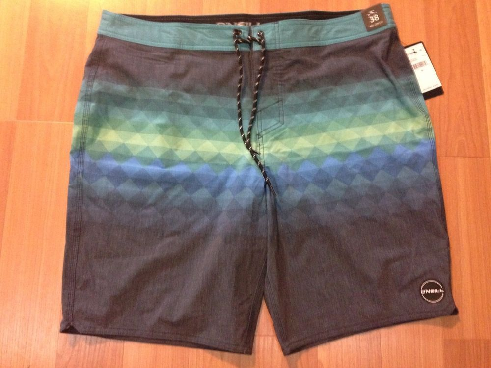 40b0583d68 Men's O'Neill Blue Green Checkered with Gray Board Swim Shorts SIZE 38 NWT #