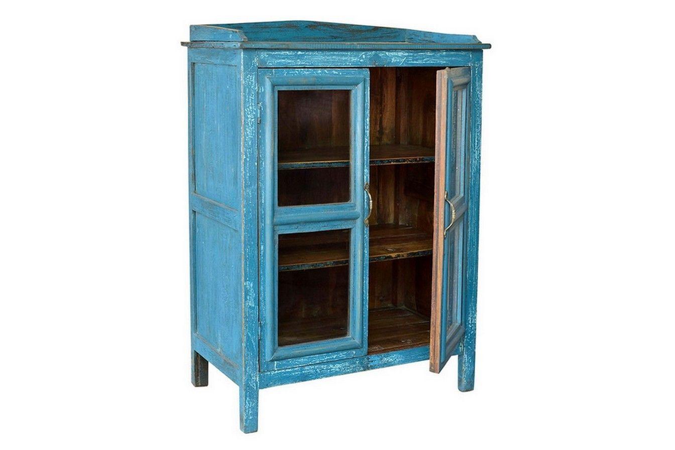 Retromöbel vitrine vintage blau schränke regale vintage retro möbel