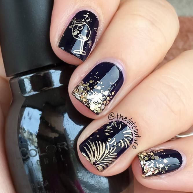 21 Exciting Ideas for New Years Nails to Warm Up Your Holiday Mood:  Champagne & Holiday Fireworks Nails Designs; #nails; #nailart; #naildesign;  #ho… - 21 Exciting Ideas For New Years Nails To Warm Up Your Holiday Mood