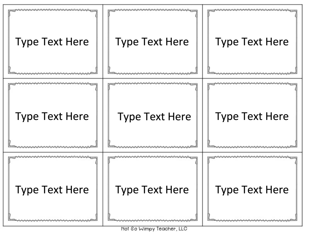 Page 1 Vocabulary Games Editable Cards Board Game Template