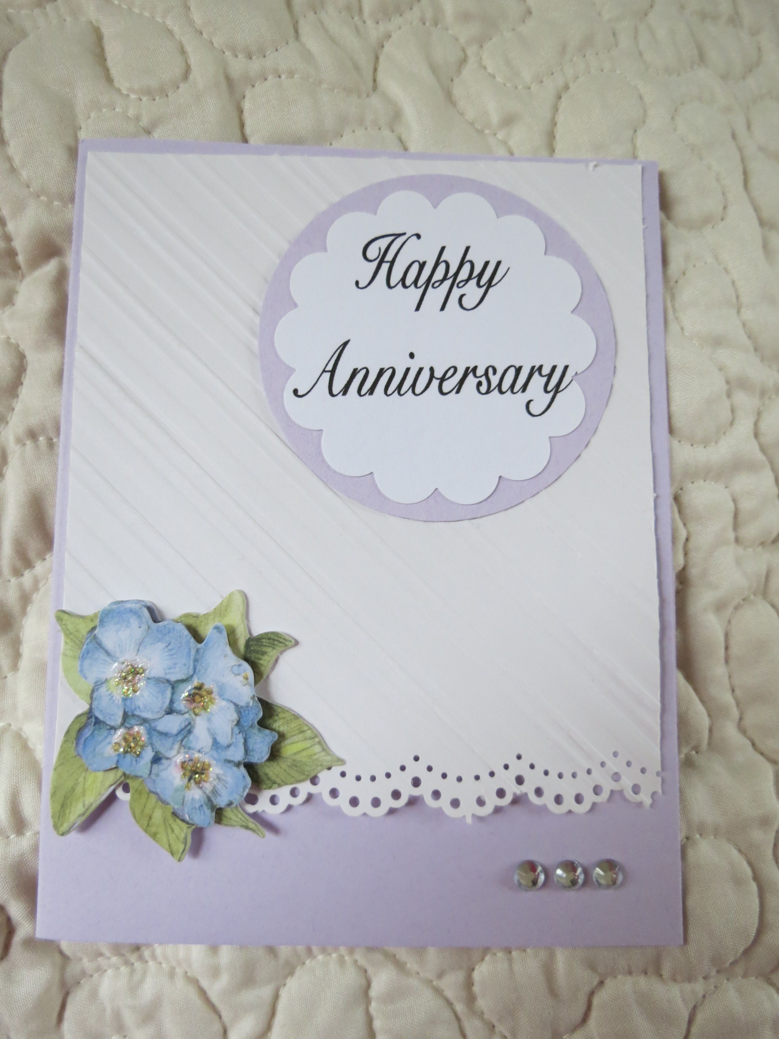 Anniversary card with embossed white cardstock, flowers 3d stickers