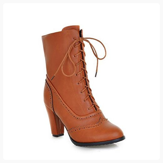 Women's Pu High Heels Round Closed Toe Solid Lace Up Boots