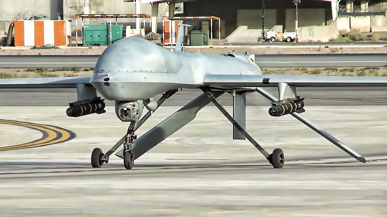 Armed Predator And Reaper Remotely Piloted Vehicles Taxis Takeoff Land At Kandahar Airfield In Afghanistan