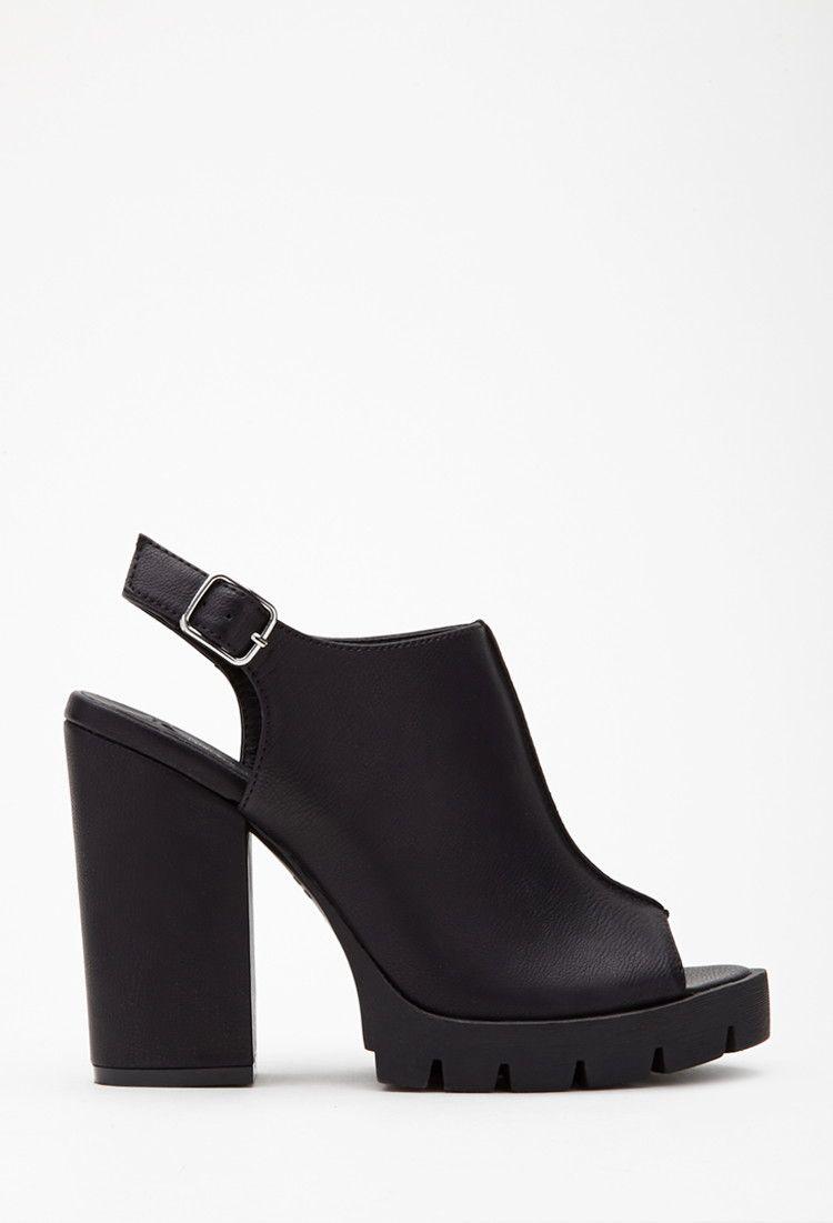 bc497c6be49 Faux Leather Peep Toe Slingbacks