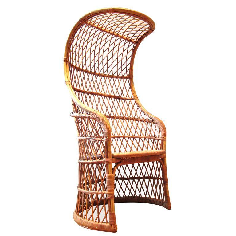 Superb 1960u0027s Italian Woven Wicker And Rattan Canopy Chair | 1stdibs.com