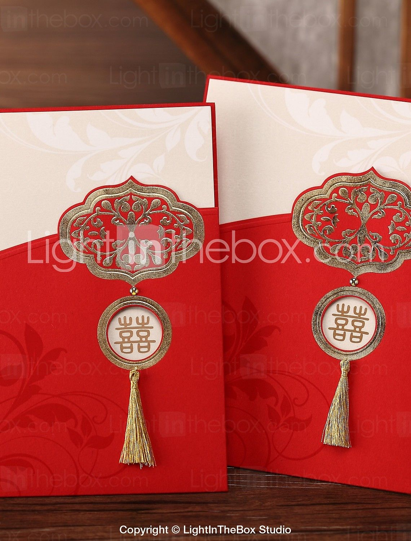 Chinese Style Tasseled Red Wedding Invitation (Set of 50) | Asian ...