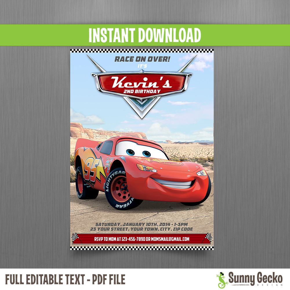Cars Lightning Mcqueen Birthday Invitation Cars Birthday Party Disney Disney Cars Birthday Lightning Mcqueen Party