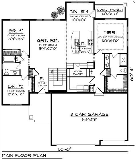 Cottage Style House Plan 75237 With 3 Bed 2 Bath 3 Car Garage Ranch Style House Plans Ranch House Plans Floor Plans Ranch