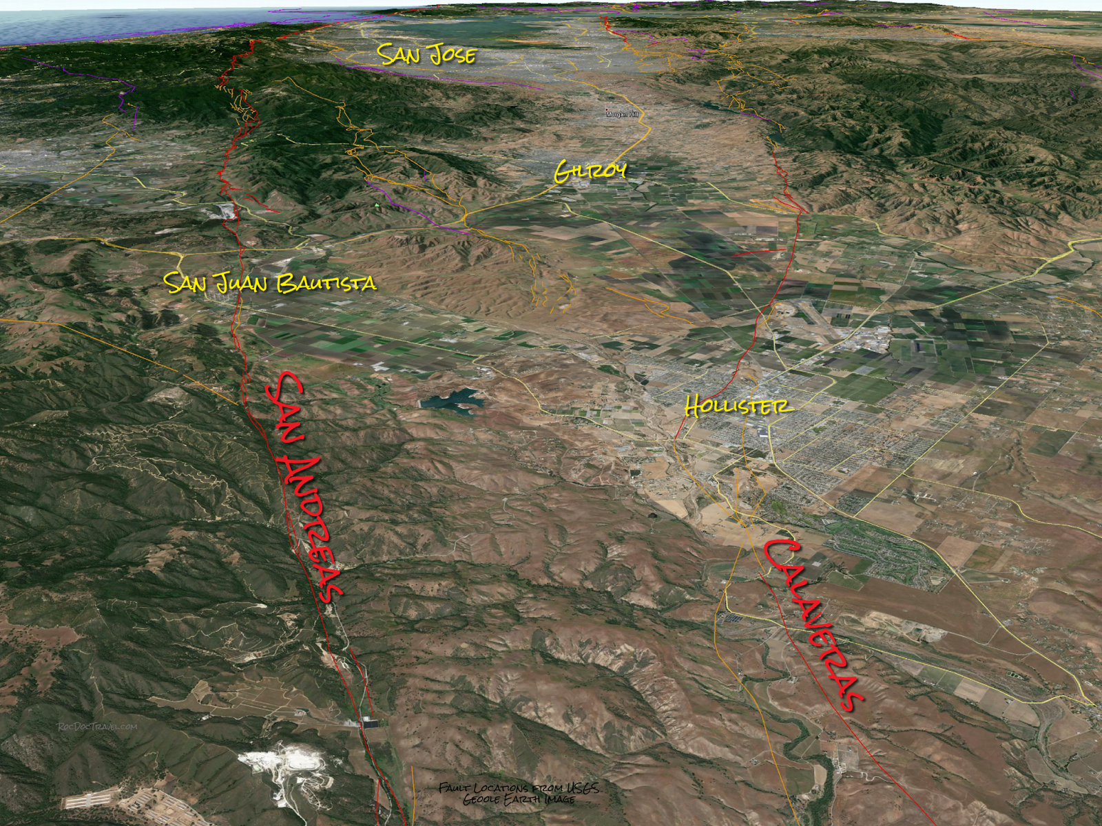 Google Earth view of the Hollister valley