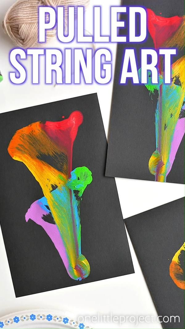 String Pull Painting: String Paint Art With Acrylic Paint