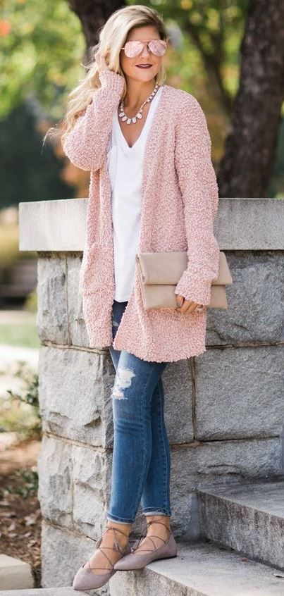 9939a4641 pretty cool fall outfit   pink cardigan + white top + bag + rips ...