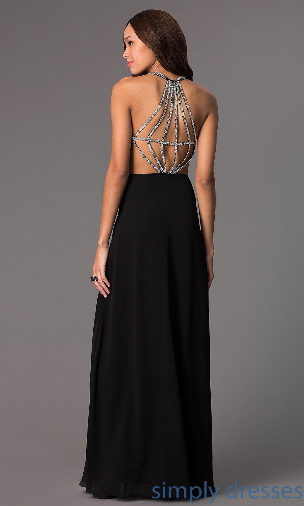 Long Chiffon Gown with Beaded Open Back | Dress formal, Dress casual ...