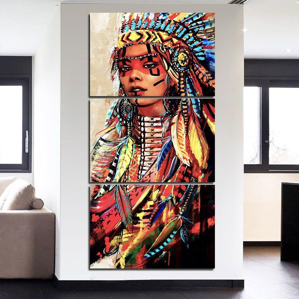3 Panel Hd Canvas Print Decor Native American Girl Canvas Set American Indian Woman Wall Indian Women Painting Native American Girls Native American Feathers