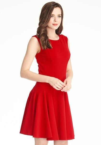 4d34978ffe Office Style    Create a simple yet sizzling office outfit with this red  sleeveless skater dress.