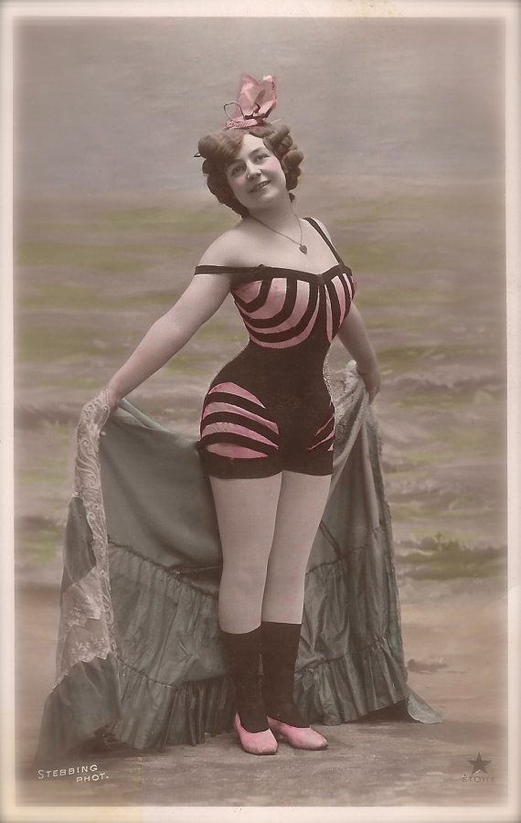 e32deea399 Edwardian Bathing Costume Risque Fancy Pin Up Glamour Lady Ready for The  Sea in Beachwear Swimsuit Original 1900s Postcard by Stebbing Paris