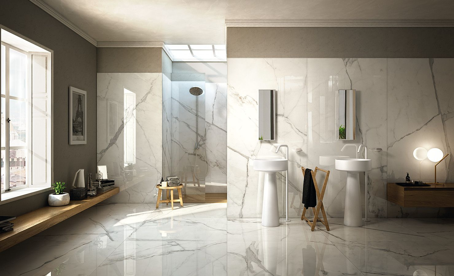 Marmol, madera, ALCACHOFA DUCHA | Дизайн ванной, Дом, Квартира студия