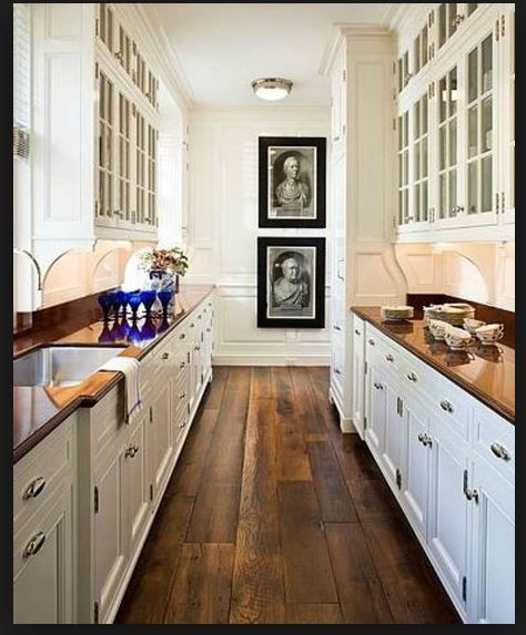 Glass Door Cabinets Galley Kitchen