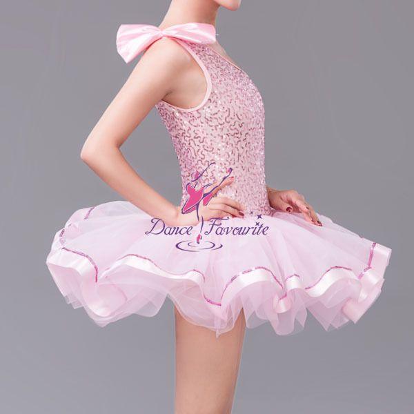 cbed01581 Girls Pink Ballet Tutu Sequin Dress for Dancing Child Stag…