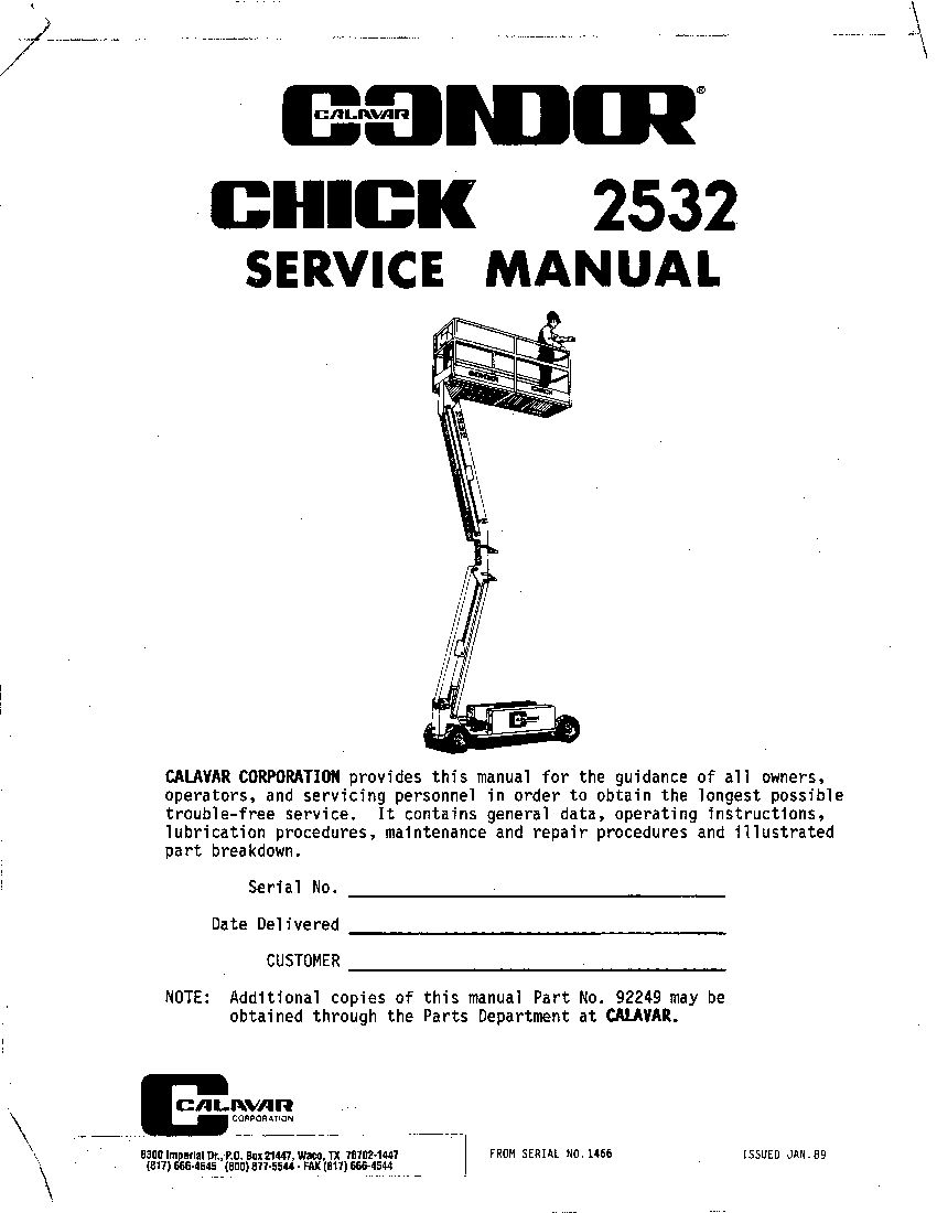 Condor 2532 92249 Scissor Lift Scissor Lift Parts Manual Pdf Download Service Manual Repair Manual Pdf Download Repair Manuals Manual Scissor Lift