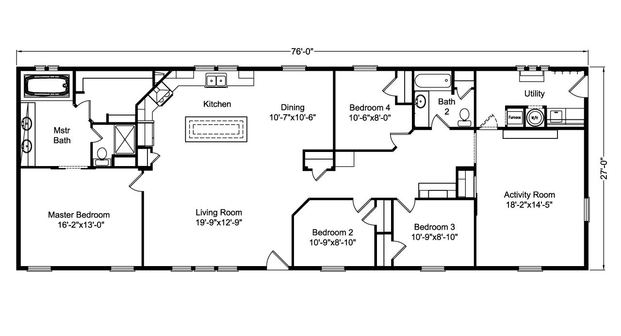 Floor Plan The Casa Grande Ad28764a Manufactured Homes Floor Plans Floor Plans House Floor Plans