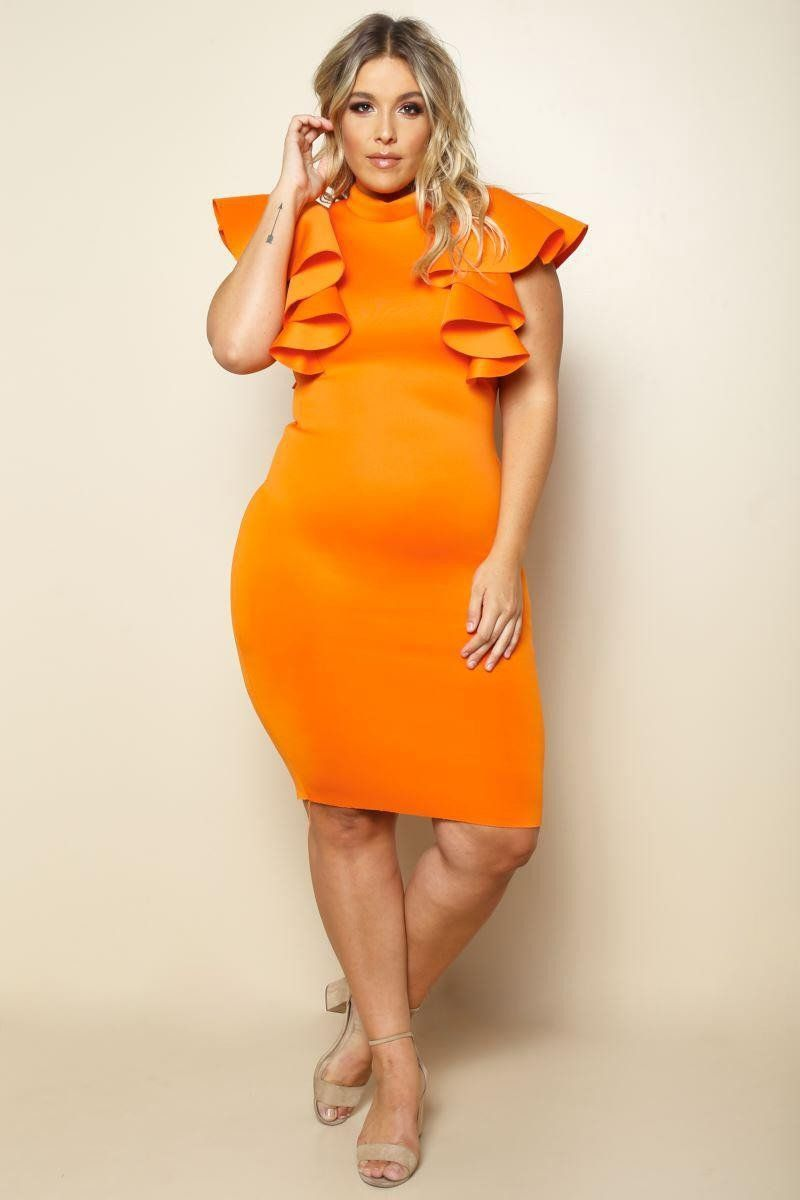 Split Cap Sleeve Midi Dress with Modern Ring Belt - Burnt orange Asos Curve EPDxS
