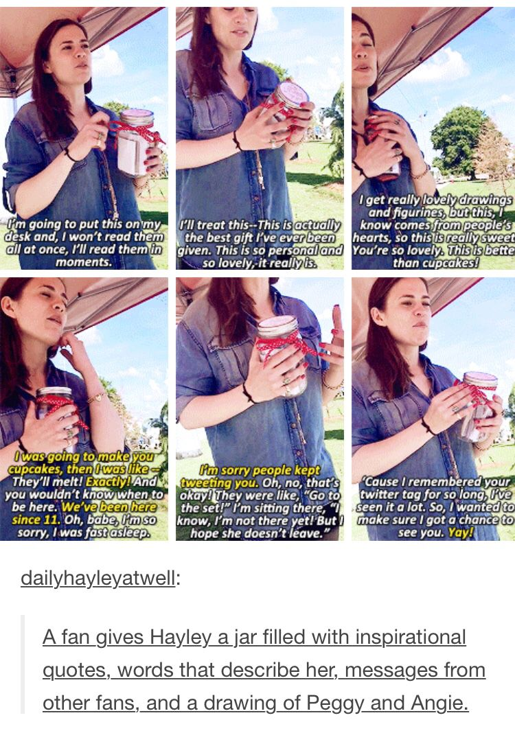 Hayley is such an amazing person.  I swear it's her Britishness and we Americans are just rotten