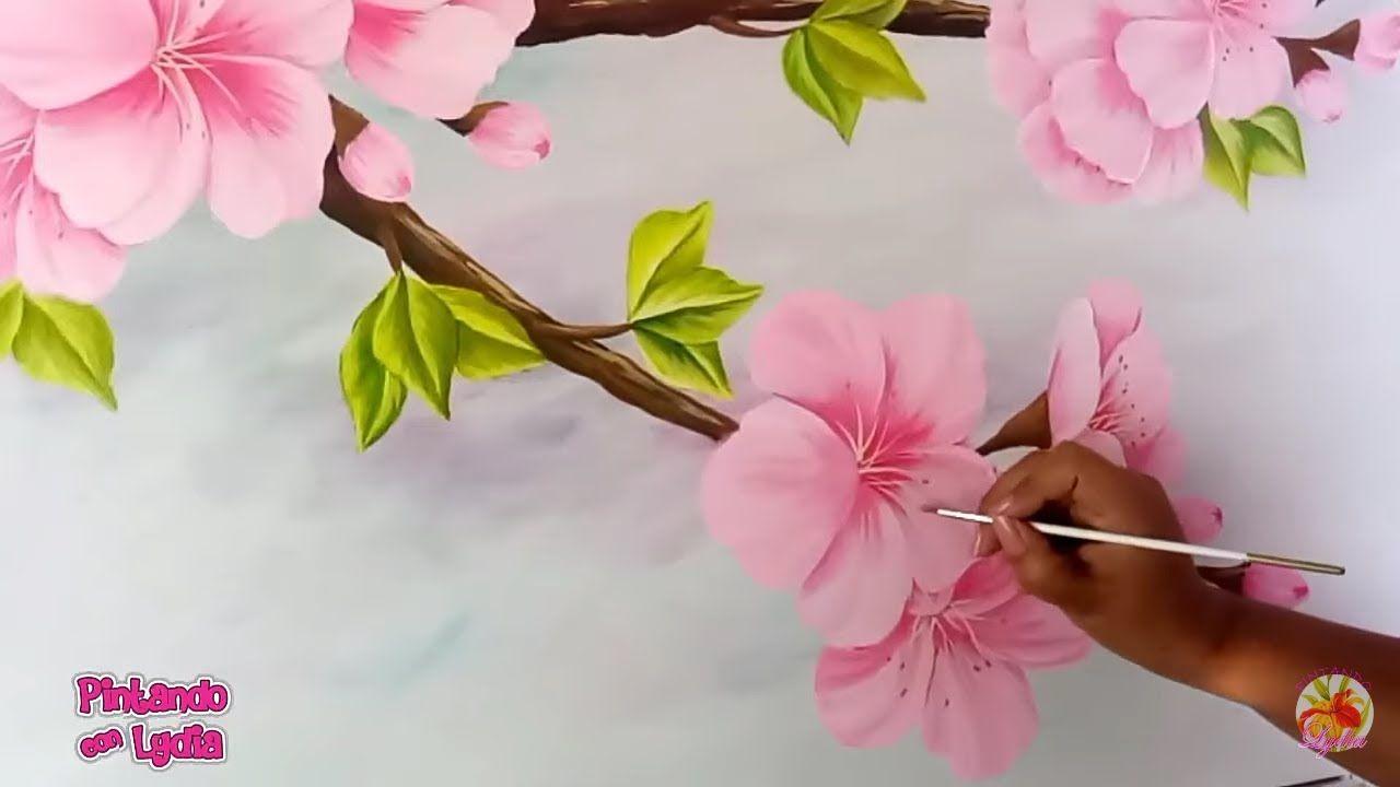 Como Pintar Un Cuadro De Flores De Cerezo Con Pintura Acrilica Flor De Cerezo Dibujo Flor De Cerezo Flores Pintadas