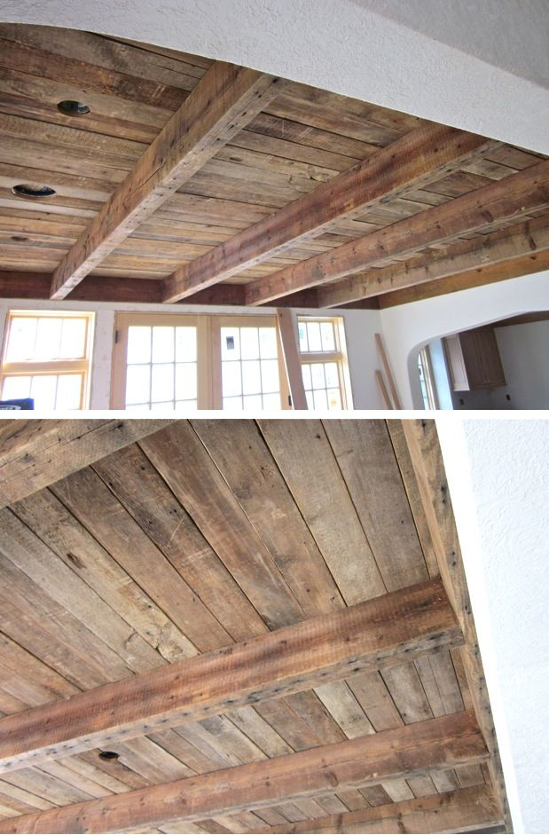 barn wood on dining room ceiling | homes. | Pallet ceiling ...