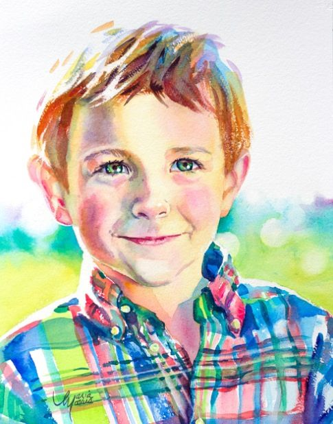 Maria Morris Watercolor. Most of all i love the cute expression that the painter captured on this little boy's face. It is really hard to capture such a clear expression.